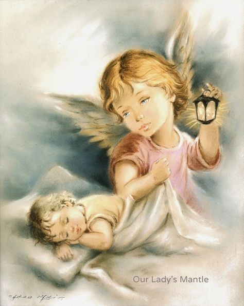 GUARDIAN ANGEL Watching Over a Sleeping Child 8x10 Print   Etsy