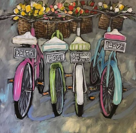 Bicycle Painting, Bicycle Art, Bicycle Design, Watercolor Art, Art Drawings, Art Projects, Old Things, Canvas Art, Canvas Crafts
