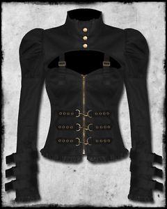 BLACK COPPER STEAMPUNK GOTH VICTORIAN LADIES JACKET SZ