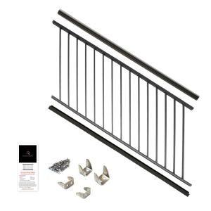 Aria Railing 36 In X 6 Ft Black Powder Coated Aluminum Preassembled Deck Stair Railing As152306b Deck Stair Railing Deck Railing Kits Deck Railings
