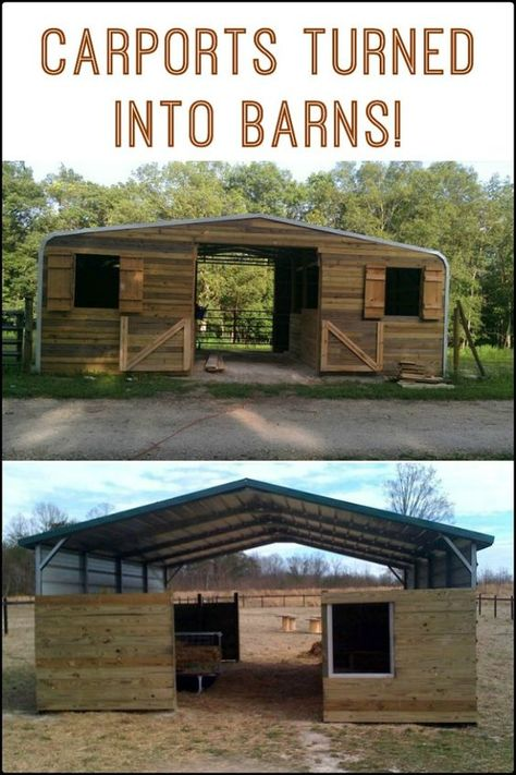 a Carport Into a Barn Carports turned barns! How about you, what would you use a converted carport for? How about you, what would you use a converted carport for? Horse Shelter, Horse Stables, Horse Farms, Goat Shelter, Diy Carport, Carport Ideas, Horse Barn Plans, Mini Horse Barn, Metal Horse Barns