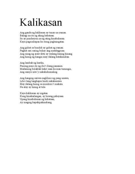 Kalikasan mga sa tula tungkol Haiku Tungkol