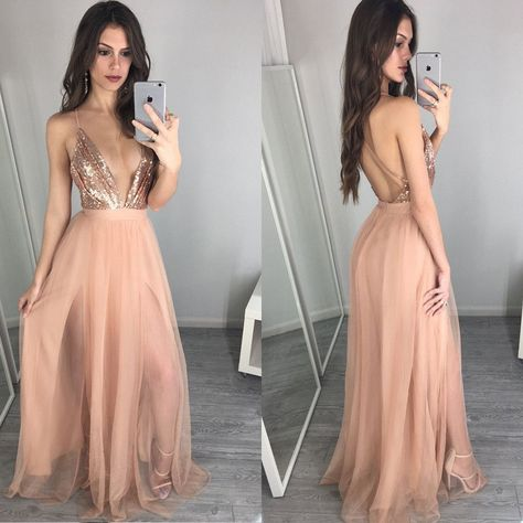 265efc47aa4245 Hot Sale Deep V-Neck Sexy Backless A-line Unique Sparkly Beauty Prom Dress  Long. PB1026