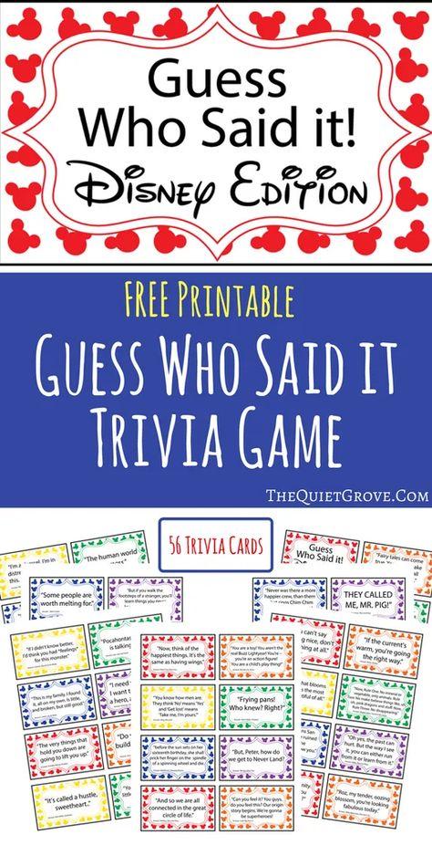 Free Printable Guess Who Said It: Disney Edition Trivia Game Disney Diy, Disney Theme, Disney Crafts, Walt Disney, Punk Disney, Disney Vacations, Disney Trips, Disney Activities, Disney Games For Kids