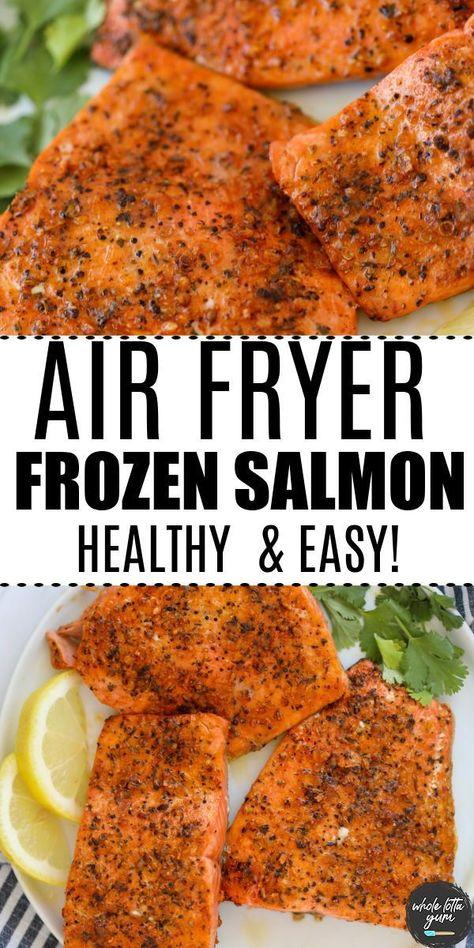 Cook air fryer salmon from frozen. air fryer frozen salmon with garlic herb. keto, low carb, gluten free