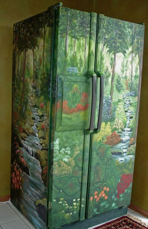 Никаких магнитов: яркий декор холодильника картинки