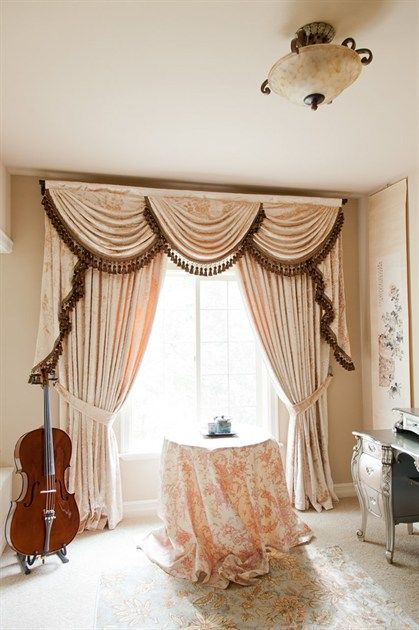 Debutante Austrian Swags Style Swag Valance Curtain Set Pink Peony Patterns  On Ivory Cotton Blend Http://www.celuce.com/p/468/austrian Swag Valancu2026
