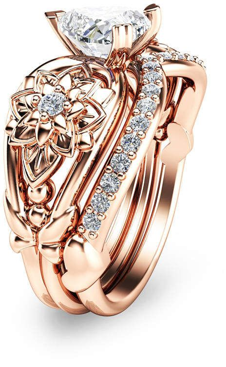 Etsy Heart Shaped Diamond Engagement Ring Set 14k Rose Gold