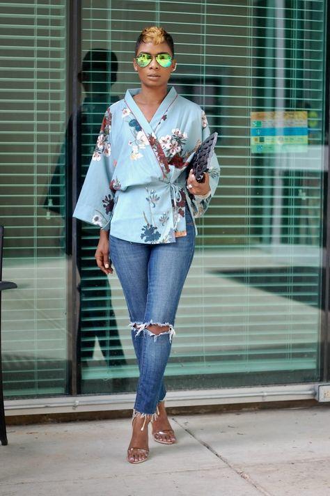 I'M WEARING: Kimono Top   Old Denim   Heels