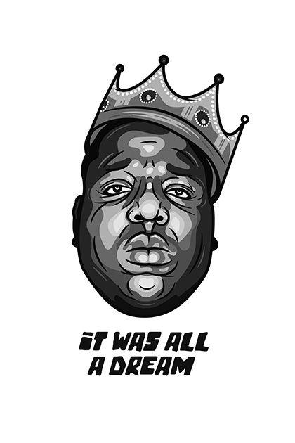 Rapper Poster Rap Poster Hip Hop Poster It Was All A Dream Hip Hop Artist Rap Artist Old School Hip Hop Legend Poster Digital File Biggie Smalls Art Notorious Big Art