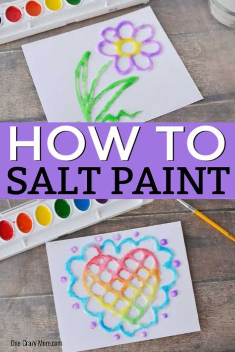 Salt Painting - Learn how to make Salt Art with your kids! We love Arts and Crafts for Kids and Salt Painting does not disappoint. Salt Art is so pretty and kids will love glue painting. It's inexpensive and so fun! Salt Painting, Glue Painting, Learn Painting, Daycare Crafts, Toddler Crafts, Children Crafts, Preschooler Crafts, Toddler Art, Diy Niños Manualidades