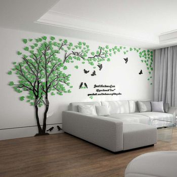 Tree Wall Decal 3d Living Room Green Yellow Acrylic Best Decorative Wall Decals Living Room Green Wall Decor Modern Living Room Wall