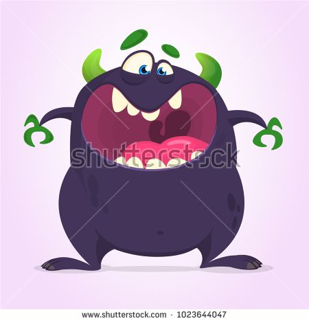 Angry cartoon black monster screaming  Yelling angry monster