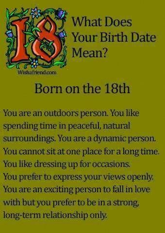 What does your birth date mean? Born on the 18th