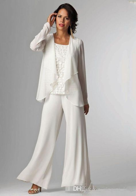 ae875d5644 White Chiffon Mother Of Bride groom Pant Suit For Wedding Long ...