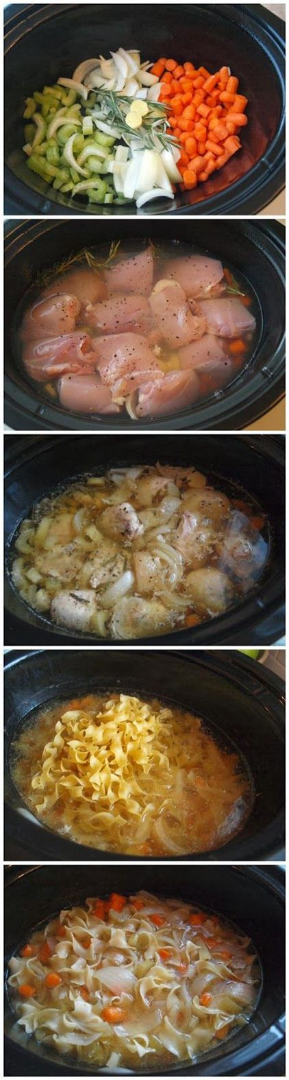 Crock Pot Chicken Noodle Soup...So Warm & Soothing. Perfect Recipe For A Chilly Night!