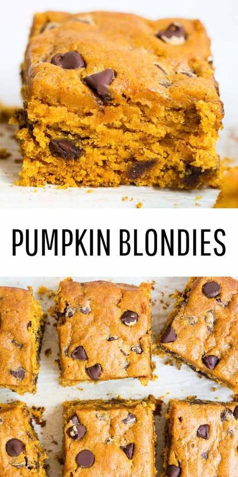 These pumpkin blondies are everything I love about fall. The pumpkin chocolate chip bars are thick, chewy, and soft all at the same time. They have the perfect hint of pumpkin spice and chocolate in every bite! These pumpkin blondies are everything Chocolate Chip Bars, Pumpkin Chocolate Chips, Chocolate Recipes, Chocolate Covered, Chocolate Cake, Beaux Desserts, Köstliche Desserts, Delicious Desserts, Dessert Healthy