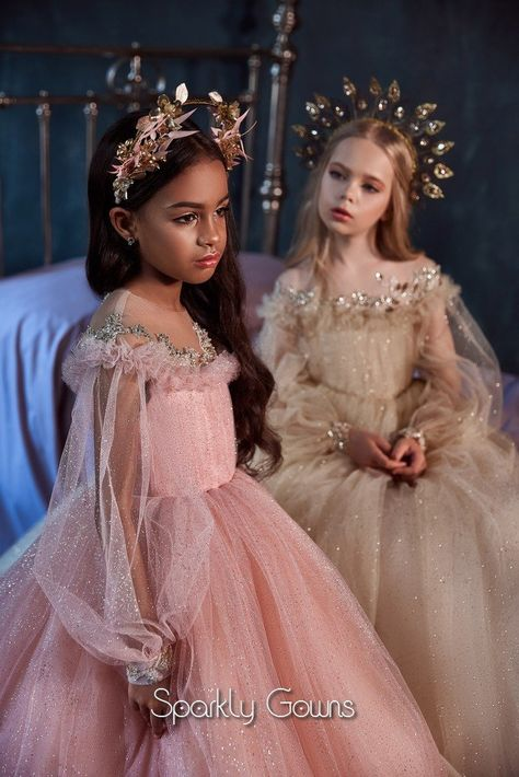 Every little girl dreams to feel like a princess! Let's make a very unforgettable day for her! Our Celestial Collection is filled with surprises for her and this style Pentelei 3112 is perfect for that special moment! This Pentelei 3112 ball gown dress features fluffy sleeves, an illusion boat neckline adorned with beautiful stones matching with the cuffs of the long sleeves. The skirt is A-line and finished on a small train. This gown is special for the flower girl, weddings, communion, or any  Princess Dress Kids, Princess Ball Gowns, Real Princess, Gala Dresses, Ball Gown Dresses, Girls Party Dress, Birthday Dresses, Toddler Pageant Dresses, First Communion Dresses