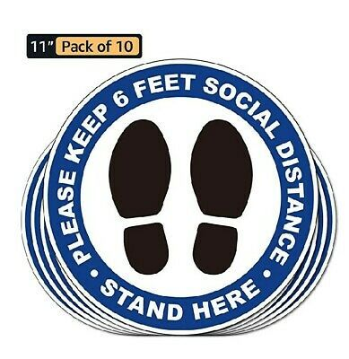 Social Distancing 6 Feet Distance Floor Decal Stickers Pack Of 10 Waterproof In 2020 Floor Decal Business Signs Stickers Packs