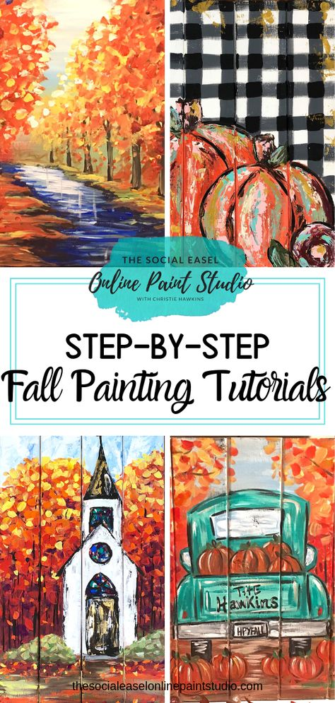 Learn How To Paint These Fall Acrylic Paintings And More With The Social Easel Online Paint Studio So Many Beautiful Fall Paintings And More Master Basic Painting Techniques With The Help Of Christie Hawkins Video Tutorials The Social Easel Online Paint Fall Canvas Painting, Basic Painting, Canvas Painting Tutorials, Acrylic Painting Tutorials, Autumn Painting, Beginner Painting, Autumn Art, Painting Techniques, Diy Painting
