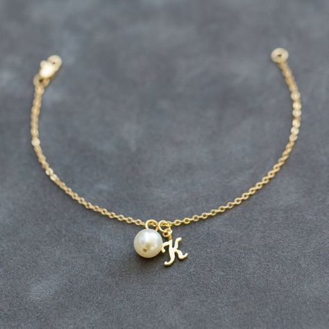 Bridesmaid Bracelet, Pearl & Initial Jewelry Gift Set of Gold Initial Charm Bracelet, Personalized Bridesmaid Jewelry