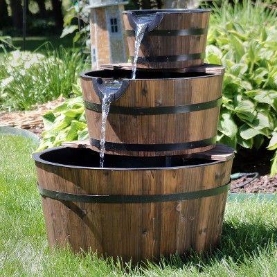 30 3 Tier Outdoor Wood Barrel Water Fountain Sunnydaze Decor In 2020 Fountains Outdoor Garden Water Fountains Water Fountain