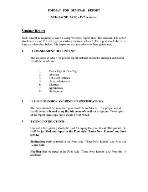 FORMAT FOR SEMINAR REPORT MTech (CSE   ECE) u2013 IVth Semester - project report format