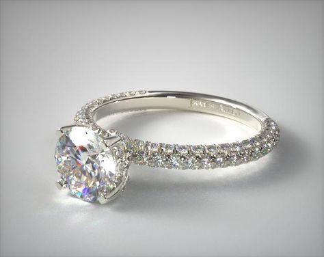 Platinum Trio Micro Pave Engagement Ring | i love this setting