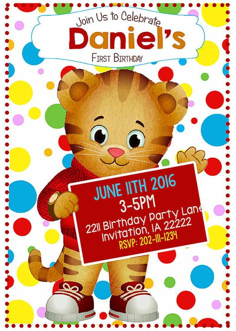 Daniel Tiger Birthday Invitation Printable by LanaRaeDesignz