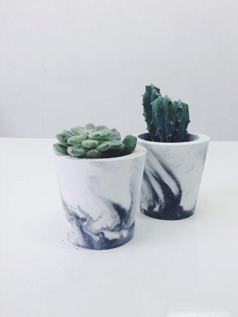 Petit format noir marbré ciment pots / jardinières pour cactus, plantes grasses ou bougies en porcelaine noir/blanc béton - vase
