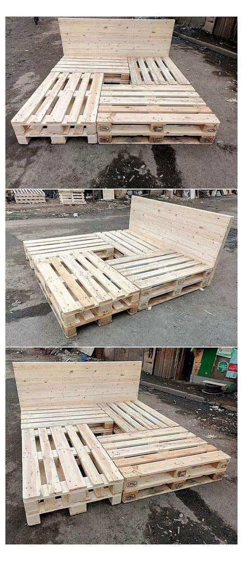 Wood Pallet Beds, Diy Pallet Bed, Wood Beds, Wooden Pallets, Pallet Bed Frames, Pallet Benches, Pallet House, Pallet Tables, 1001 Pallets