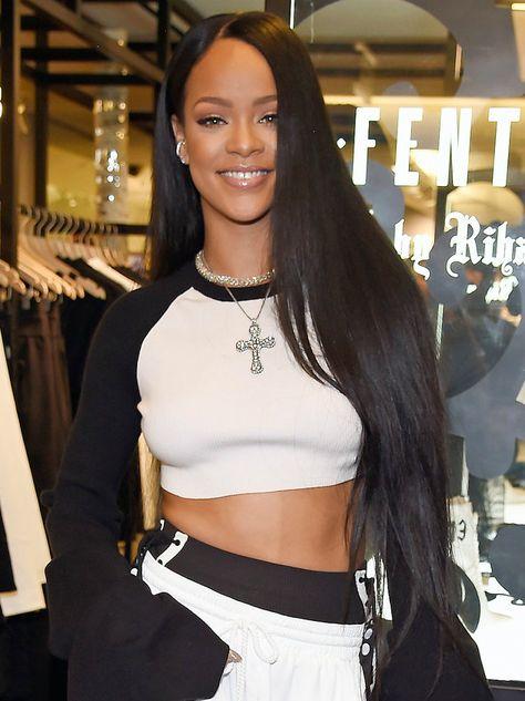Rihanna with Super Long Straight Hair
