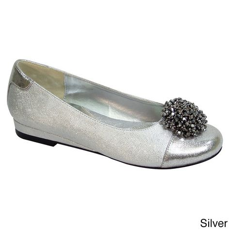 9ff0f76f105a Fic Fuzzy Andie Women Extra-wide Width Slip-on Ballet Dress Flats (Silver  5.5 Extra Wide) (floral)