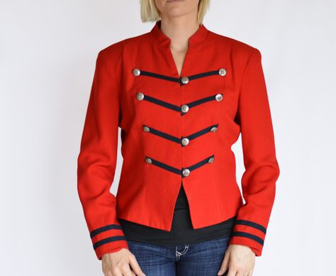 Vintage Military Style Jacket Shirt Red Navy Blue by FL Malik Limited Sz 10 by YellowWoodVintage on Etsy