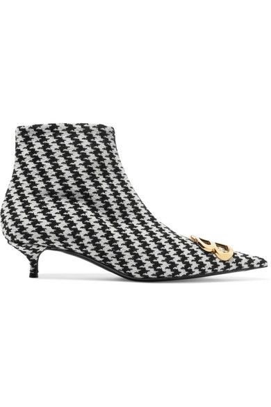 Balenciaga Logo embellished houndstooth tweed ankle boots