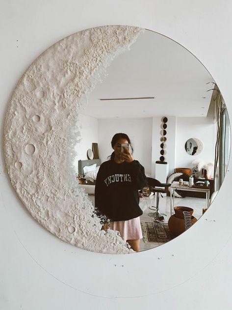 Cute Room Decor, Aesthetic Room Decor, Room Ideas Bedroom, Budget Bedroom, Diy Mirror, Moon Mirror, Mirror Art, Mirror Room, My Room