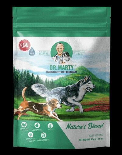 Picture Of Dr Martys Nature Blend Dog Food Label