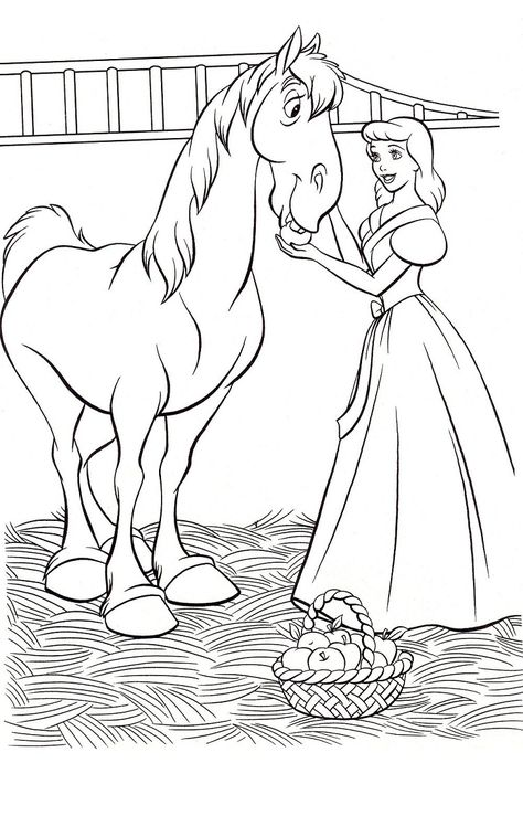 cinderella coloring pages free to print  horse coloring