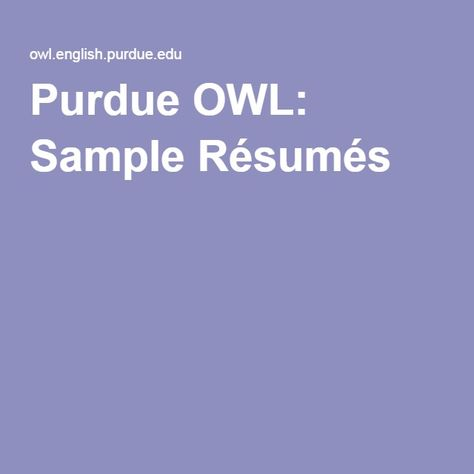 Purdue OWL Sample Résumés Creating a Functional Resume - purdue owl resume