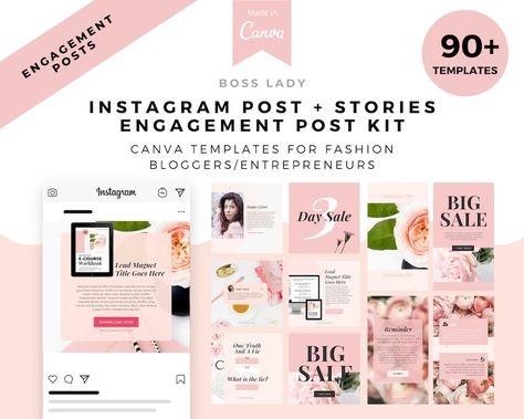 Boss Lady Instagram Post Templates Black and white | Etsy