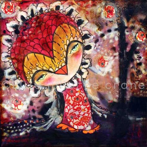 Primitive, Raw Art - Mystic Heart- an inch Print of a Reproduction of the Original Mixed Media Owl Painting by Juliette Crane