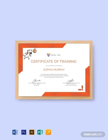 Free Dog Training Certificate Certificate Templates Training