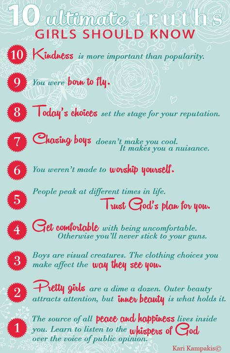 """Coming November 2014 for teen & tween girls: """"10 Ultimate Truths Girls Should Know."""" Pre-order now at http://www.amazon.com/Ultimate-Truths-Girls-Should-Know/dp/0529111039/ref=sr_1_1?ie=UTF8&qid=1412045796&sr=8-1&keywords=10+Ultimate+Truths+Girls+Should+Know"""