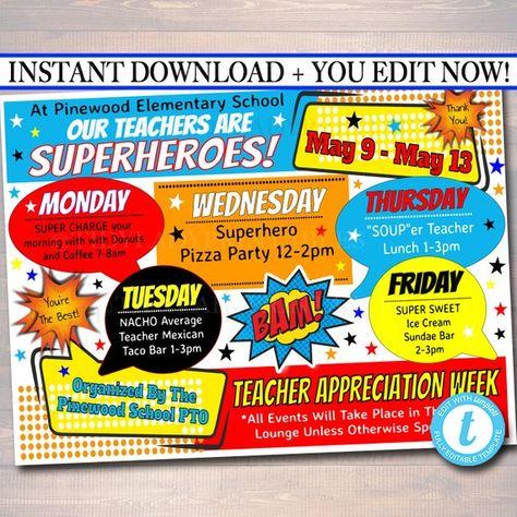 EDITABLE Superhero Teacher Appreciation Week Itinerary Poster, Digital File, Appreciation Week Schedule Events, INSTANT DOWNLOAD Printables