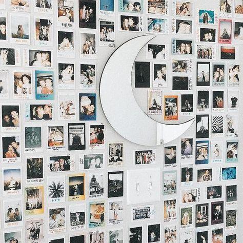 Dream room goals via crescent moon mirror sku Cute Room Ideas, Cute Room Decor, Room Wall Decor, Room Ideas Bedroom, Bedroom Decor, Nursery Decor, Polaroid Wall, Polaroid Display, Polaroids