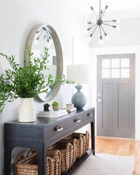 """Jul 6, 2019 - Crystal Palecek on Instagram: """"Because I'm too excited not to share, here's a sneak peek at our latest completed project. Full tour coming soon! Interior Design:…"""" Entrance Hall Decor, Entryway Decor, Entryway Ideas, House Entrance, Entryway Table Decorations, Foyer Table Decor, Entryway Console Table, Entrance Halls, Condo Living Room"""