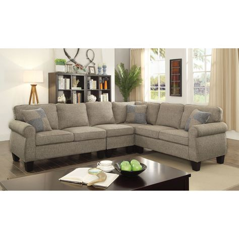 Pleasant Furniture Of America Herena Linen Like L Shaped Sectional Gamerscity Chair Design For Home Gamerscityorg