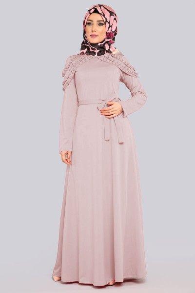 Bayan Tesettur Giyim Omuz Inci Apoletli Elbise Elbise Giyim Moda Stilleri