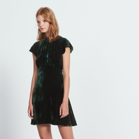 Sandro High Neck Velvet Dress Dresses Green Velvet Dress