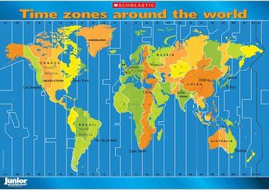 Time Around The World Map Children can investigate the world's time zones with this striking